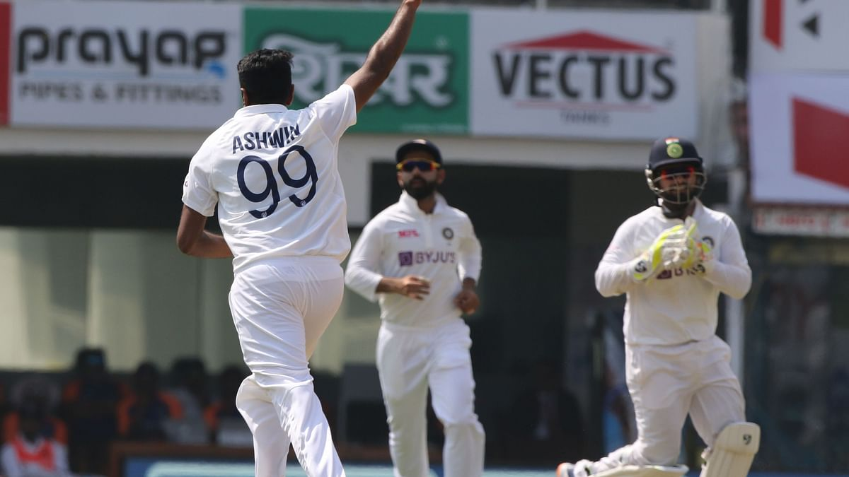 R Ashwin celebrates the wicket of Rory Burns on Day 1 in Chennai.