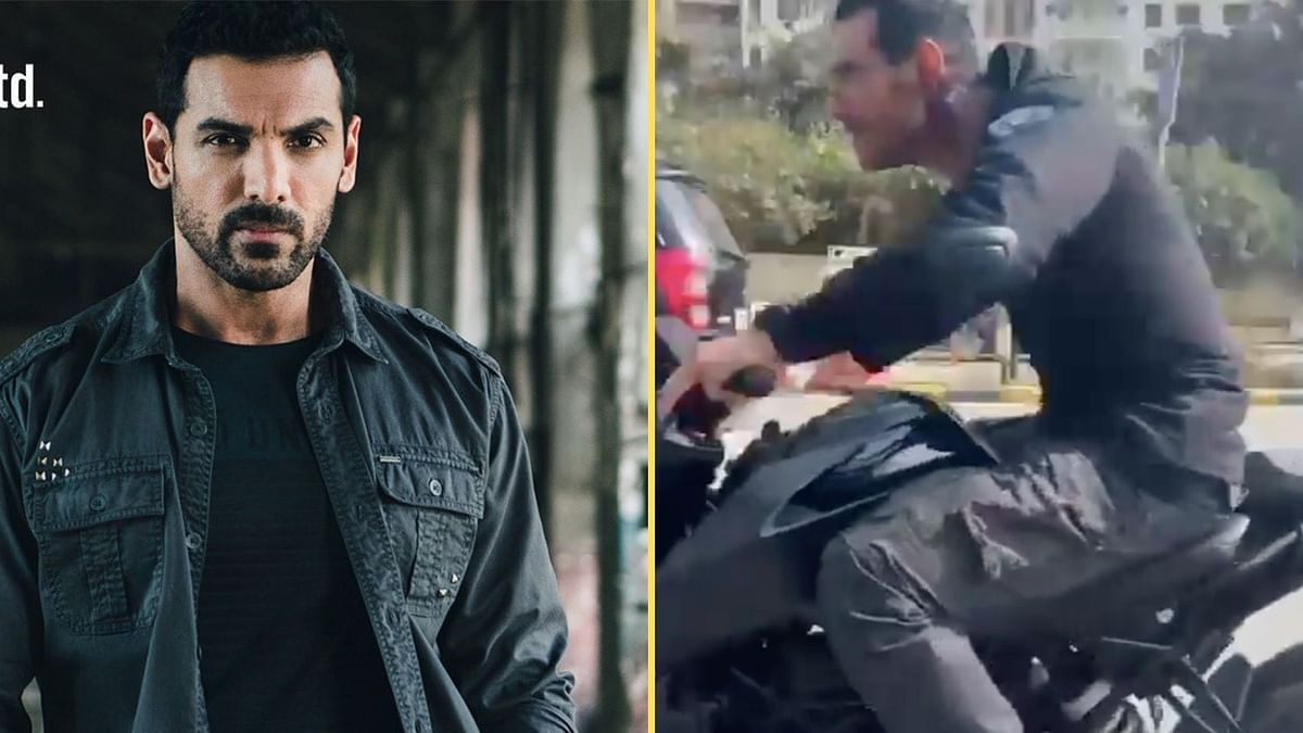 John Abraham has been called out for not wearing a helmet while performing a bike stunt.