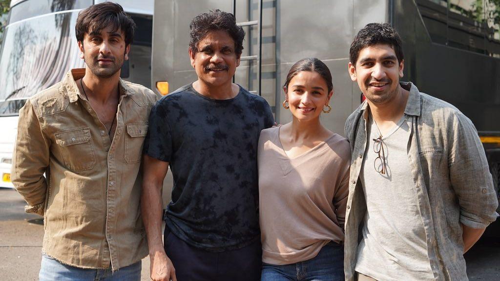 <p>Nagarjuna with Ranbir Kapoor, Alia Bhatt and Ayan Mukerji.</p>