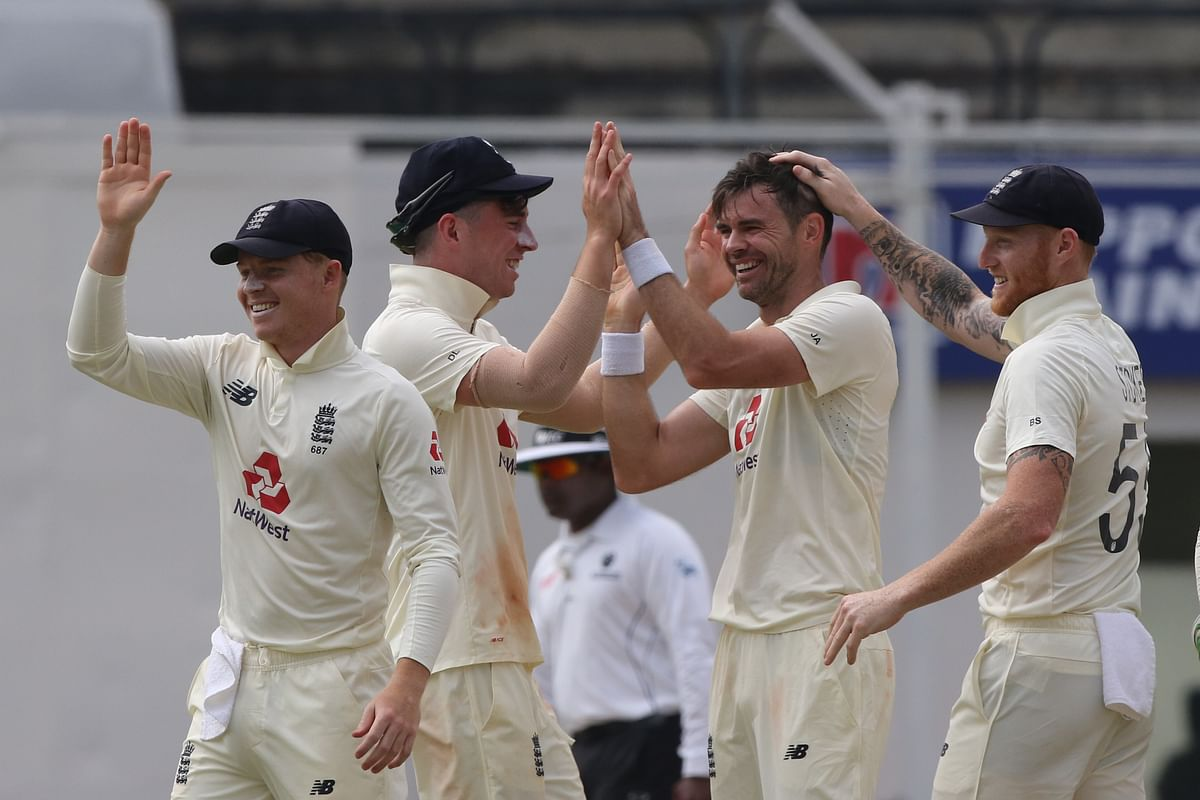 James Anderson of England celebrates the wicket of Rishabh Pant of (WK) India during day five of the first test match between India and England.