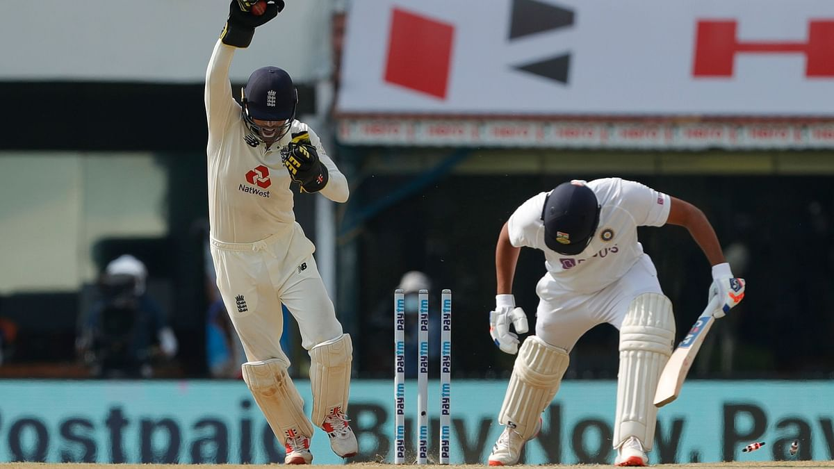 Ben Foakes celebrates after stumping out Rohit Sharma during day three of the second test between India and England.