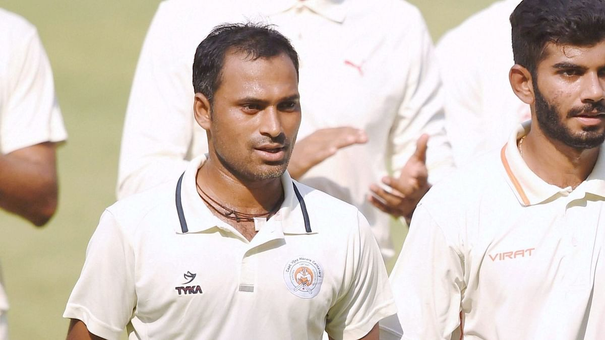 File picture of Baroda bowler Lukman Meriwala  after taking 5 wickets during a Ranji trophy match against Mumbai.