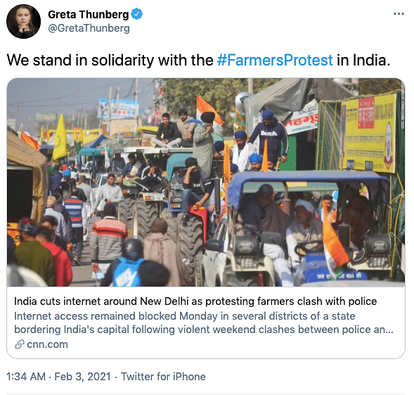 Greta Thunberg's tweet in support of the farmers' protest