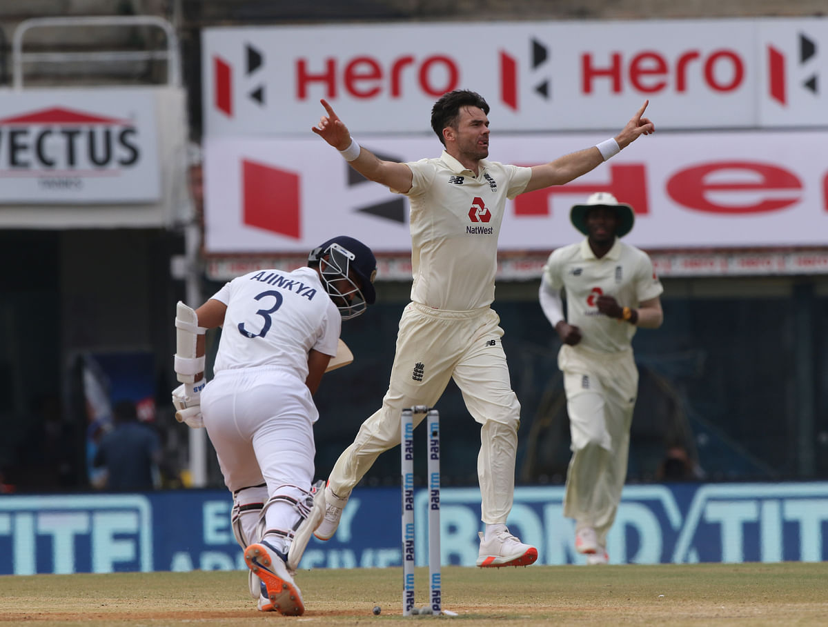 James Anderson of England celebrates the wicket of Ajinkya Rahane (Vice captain) of India during day five of the first test match between India and England.