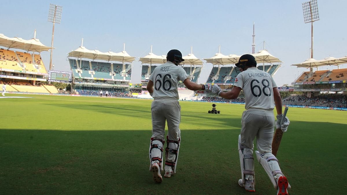 Joe Root (captain) and Dan Lawrence come out to bat at the start of Day 4 of the second Test at Chennai.