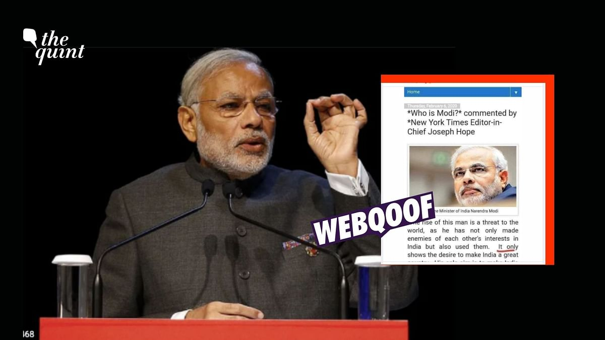 No, Viral Message Hailing PM Modi Was Not Drafted by NYT Editor