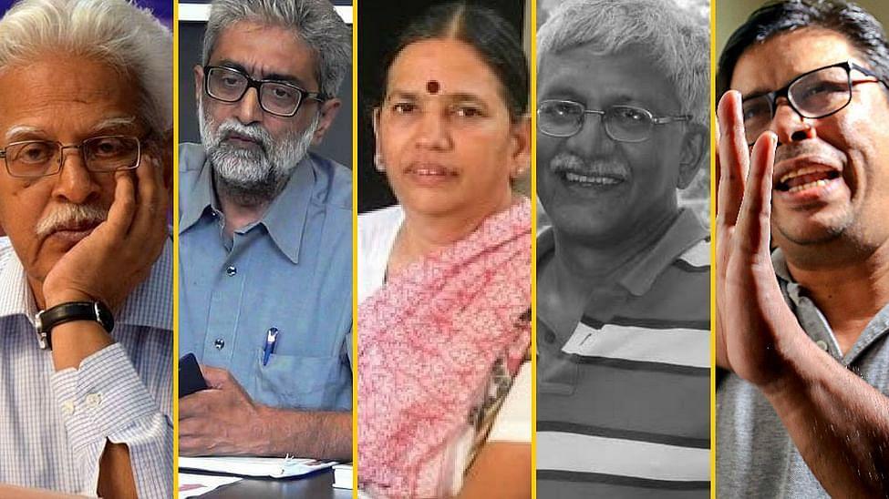 From L-R: Varavara Rao, Gautam Navlakha, Sudha Bharadwaj, Vernon Gonsalves, Arun Ferreira.
