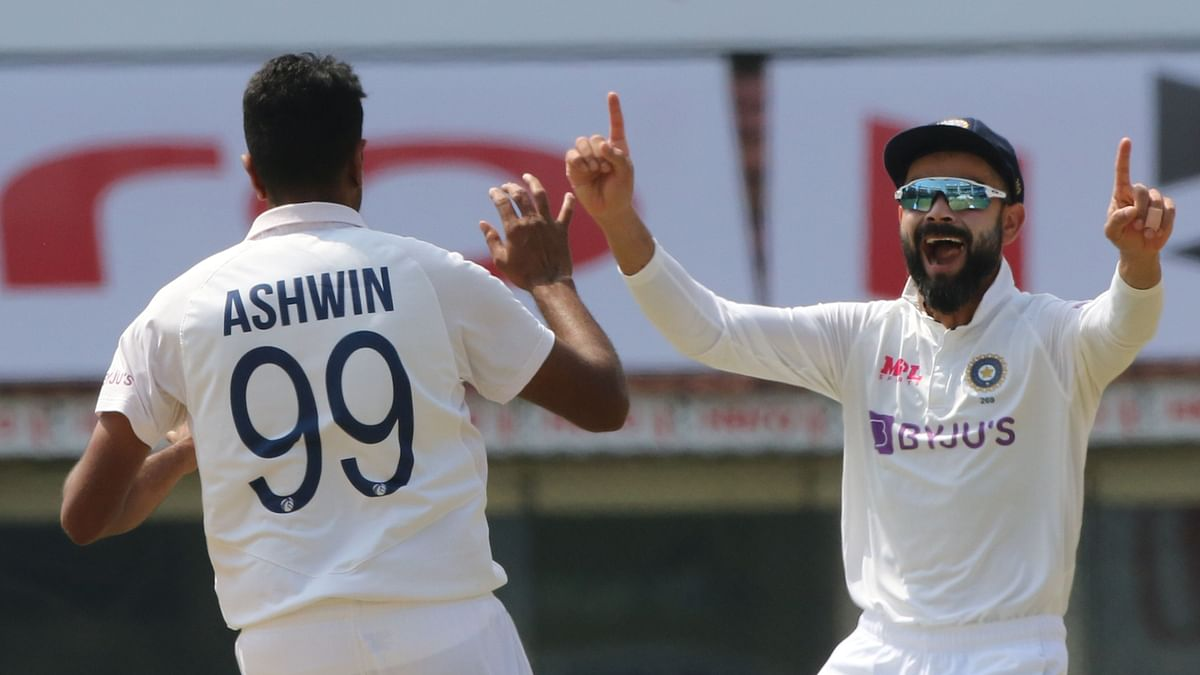 R Ashwin celebrates a wicket on Day 4 in Chennai against England.