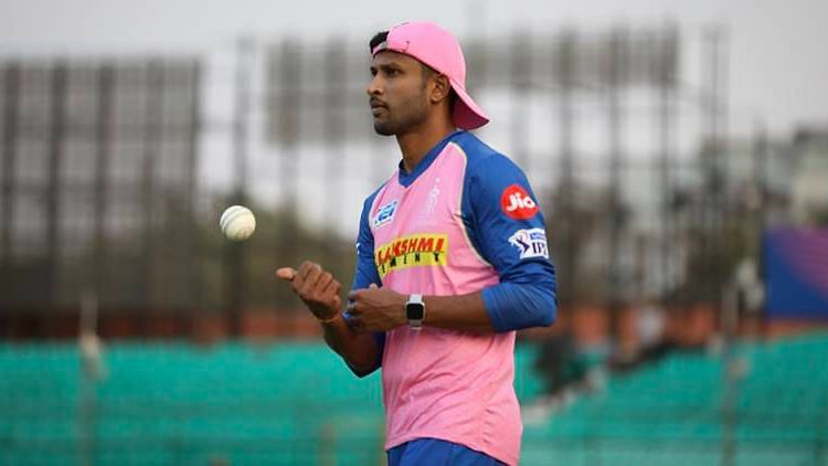 K Gowtham during a training session with Rajasthan Royals.