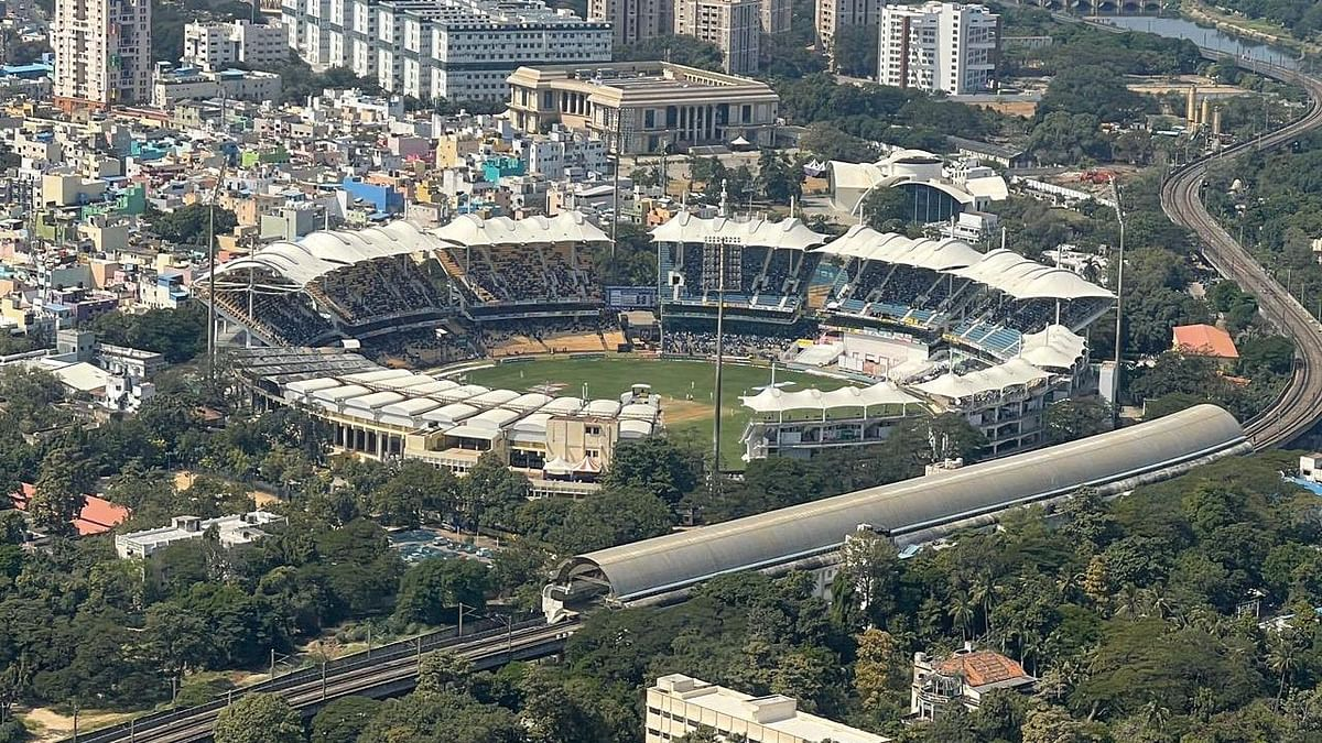 PM Modi shared an aerial picture of the Chepauk Stadium where India and England are playing a Test match.