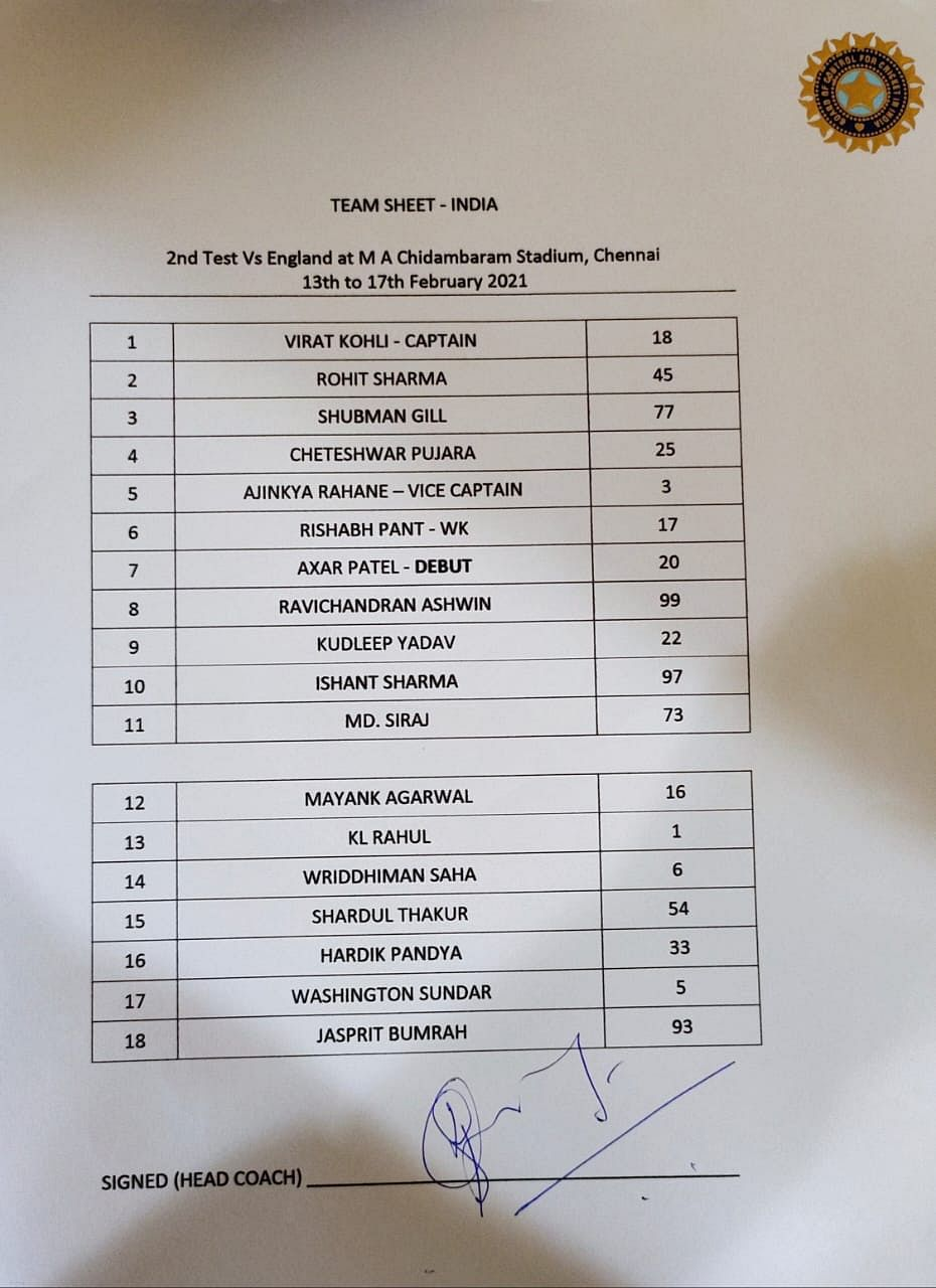 India team sheet for the 2nd Test in Chennai.