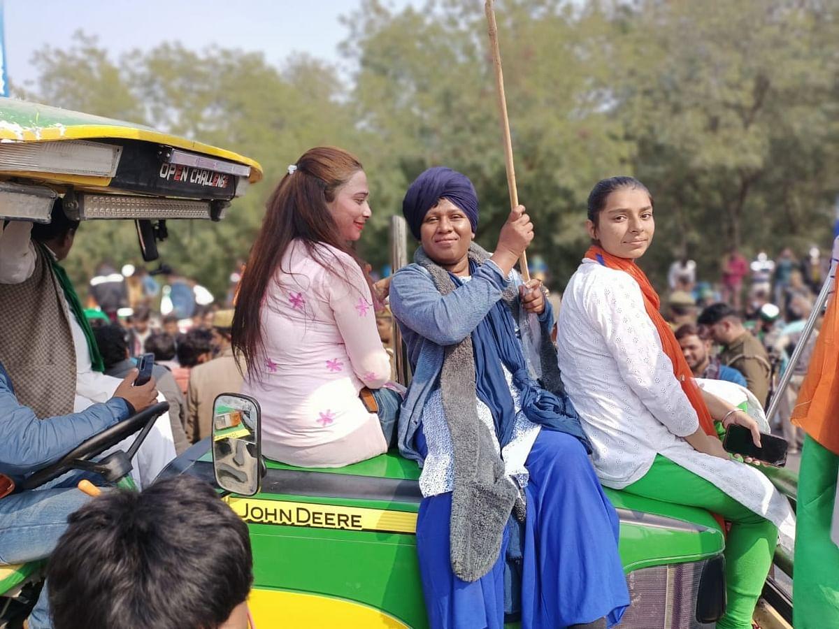 Ammini at the farmers' protest in Delhi.