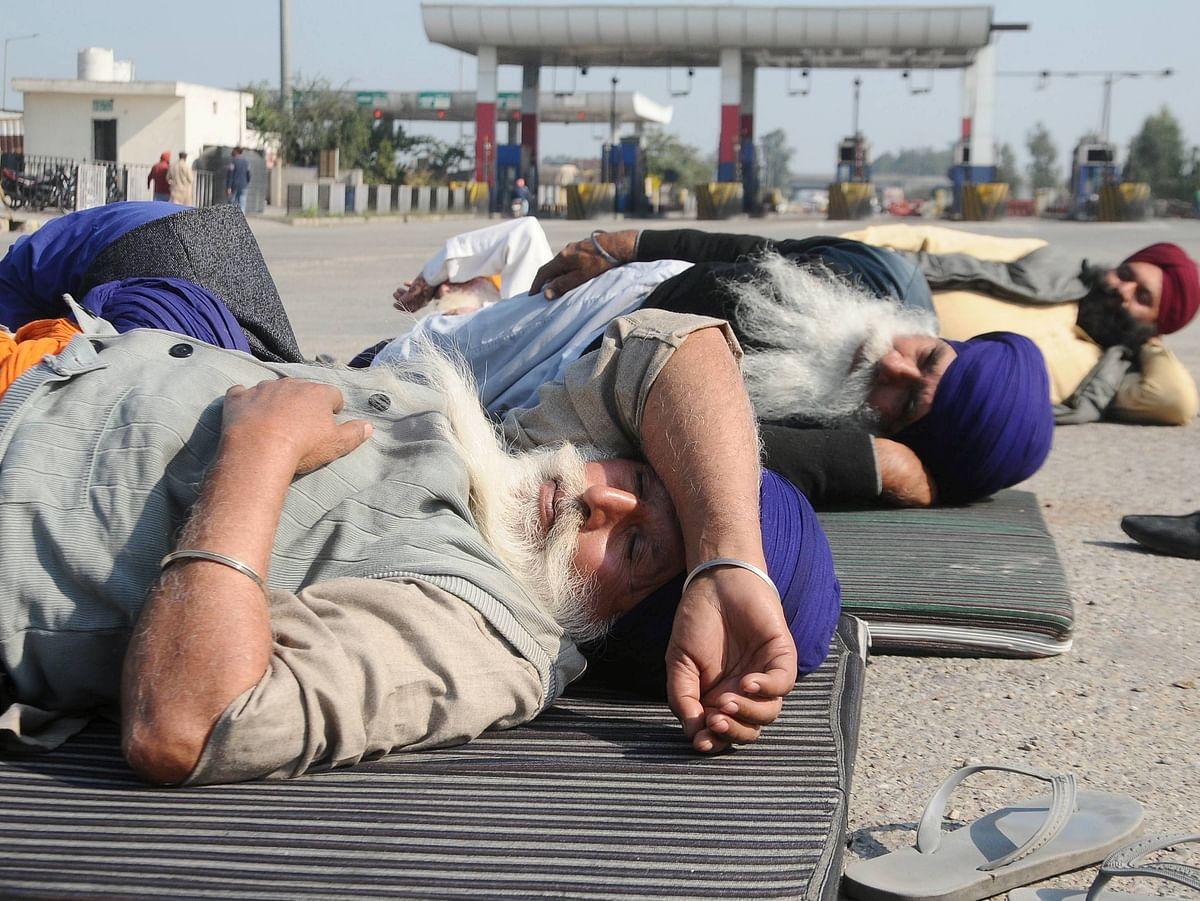 """<div class=""""paragraphs""""><p>(File photo): Farmers at Tikri border during their chakka jam protest as part of the ongoing agitation over new farm laws, near New Delhi</p></div>"""