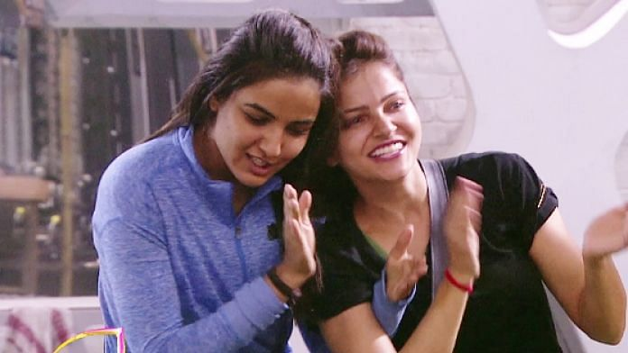 Rubina Dilaik and Jasmin Bhasin inside the <i>Bigg Boss</i> house.