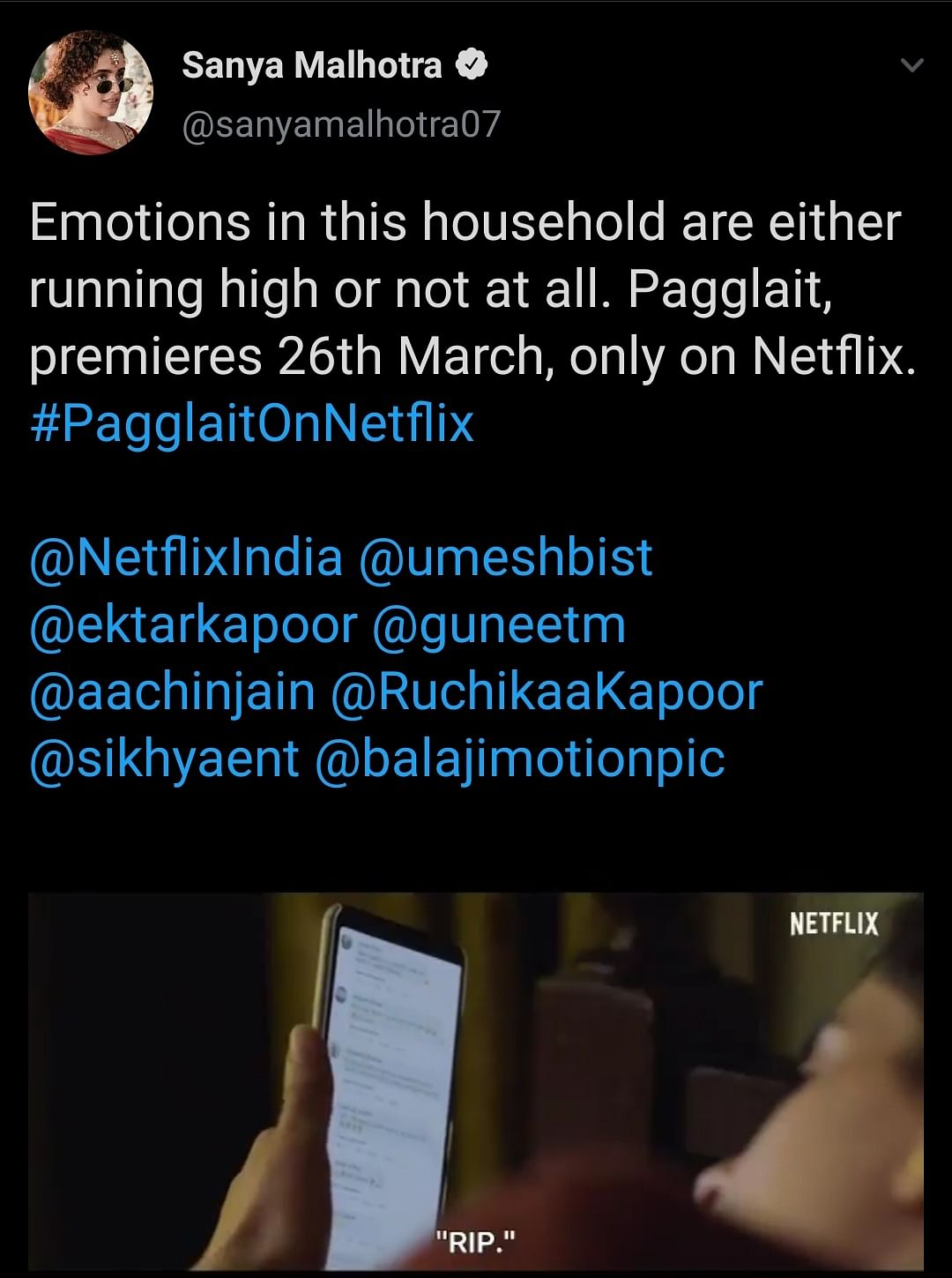 Sanya Malhotra took to Twitter to share the teaser for her upcoming release Pagglait