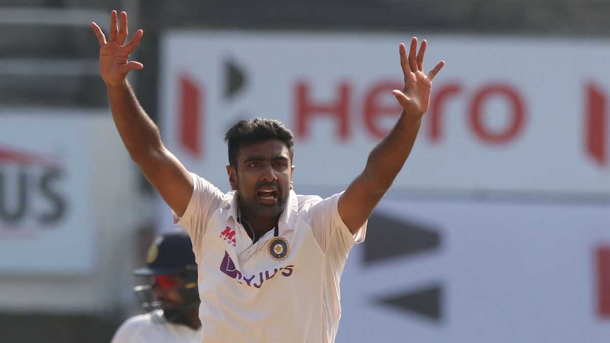 R Ashwin appeals against an England on Day 4 in Chennai