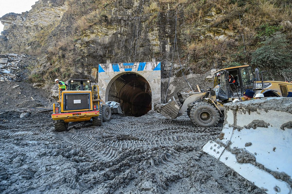 Rescue operations continue at Tapovan Tunnel, following Sunday's glacier burst in Joshimath causing a massive flood in the Dhauli Ganga river, in Chamoli district of Uttarakhand.