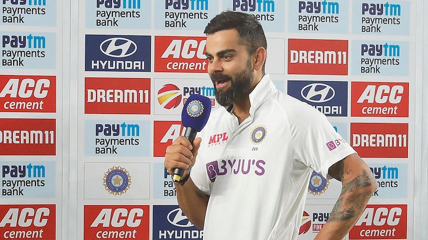 Virat Kohli speaks after India win the third Test at Motera.