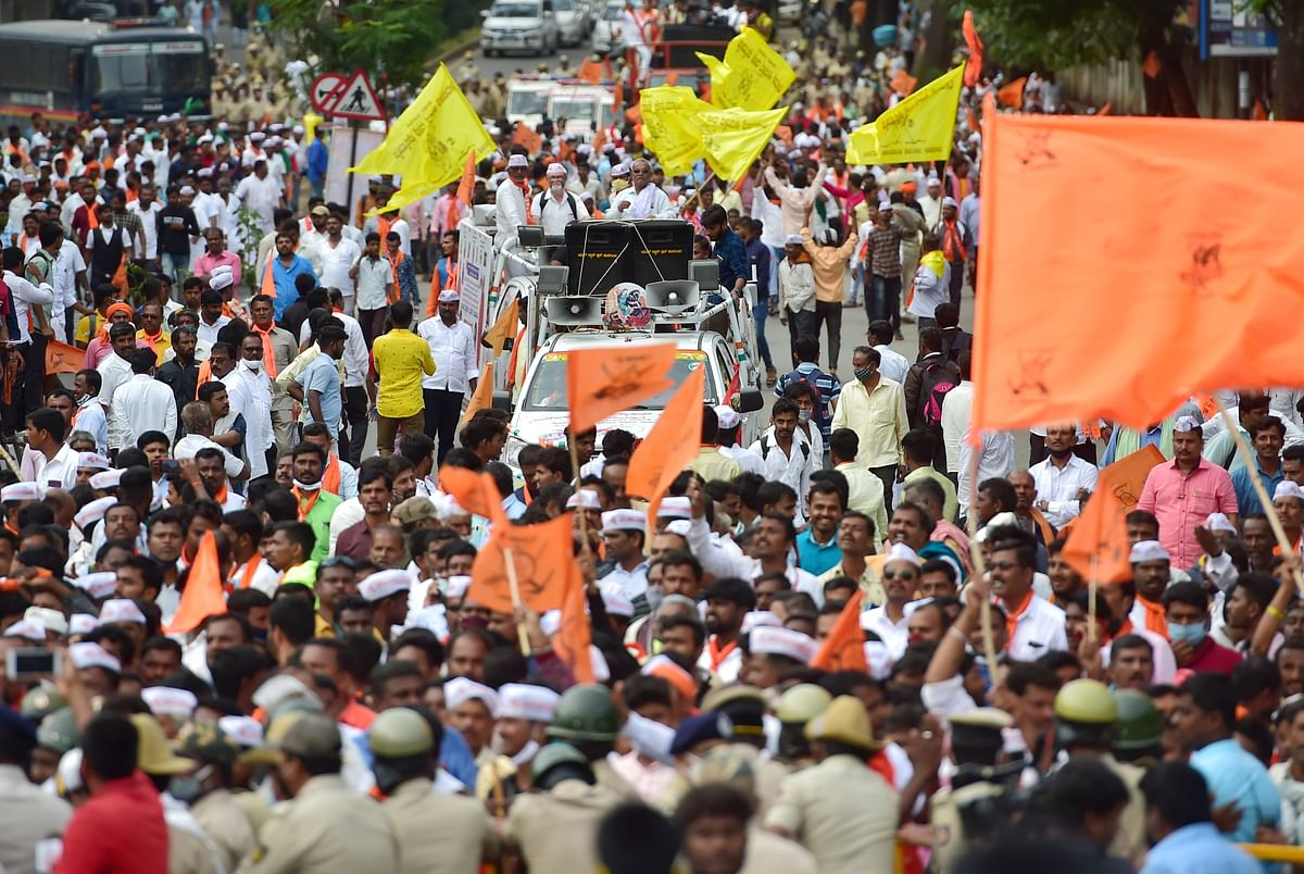 Members of the Panchamasali (Lingayat) community during a rally demanding for the inclusion of Lingayat community in the 2A reservation category, in Bengaluru on Sunday.