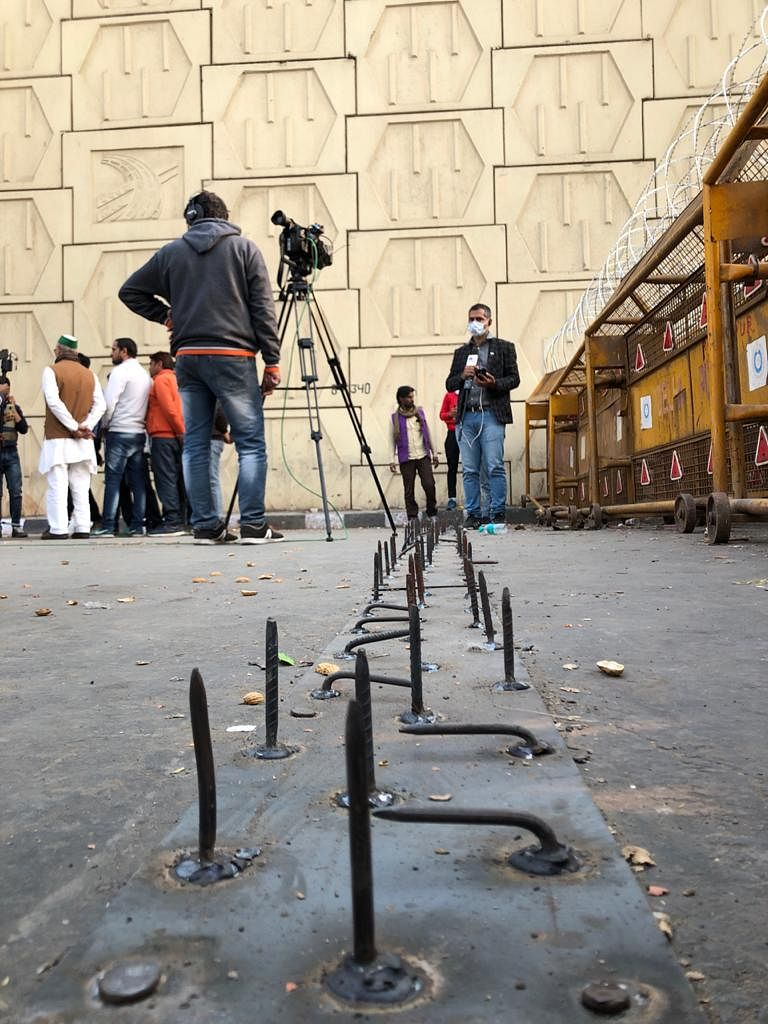 Police Fortify Delhi Borders Using Iron Spikes, Nails, Barbed Wire