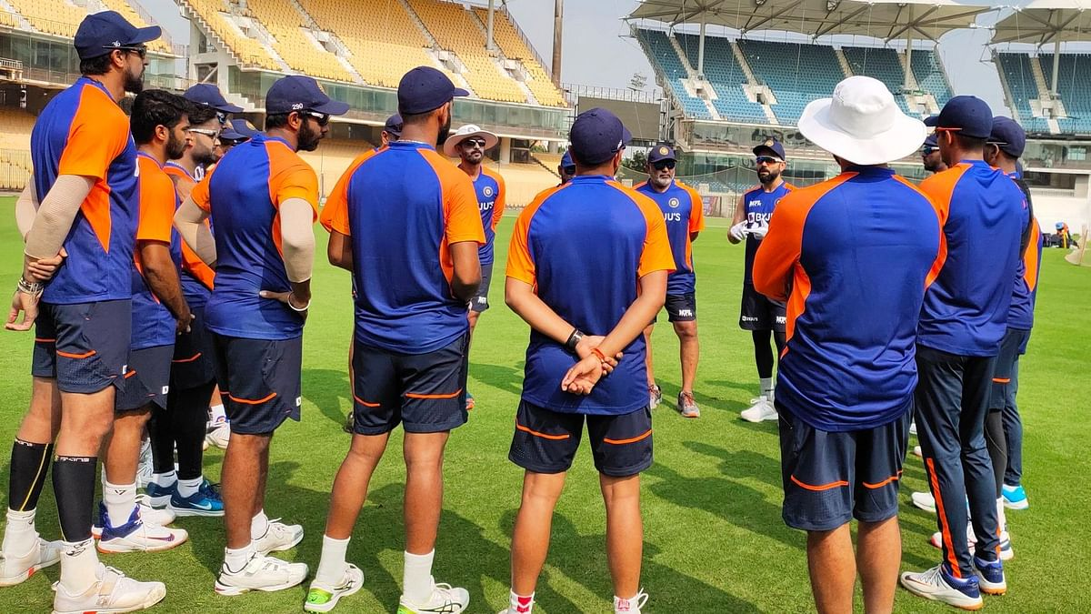 Team India during their training session in Chennai ahead of the first Test against England.