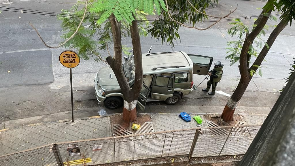 The bomb disposal squad of the Mumbai police found an abandoned Scorpio that triggered a bomb scare near Mukesh Ambani's residence Antilia on Thursday.