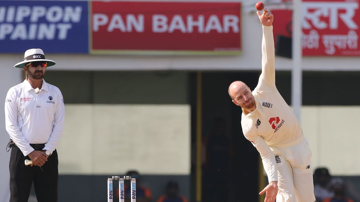 Jack Leach in action on Day 4 of the Chennai Test against India.