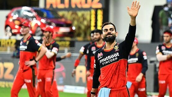 Royal Challengers Bangalore captain Virat Kohli in a light mood.