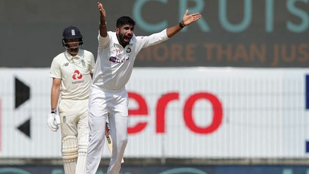 Jasprit Bumrah appeals successfully against Joe Root in Chennai on Day 4 of the first Test.