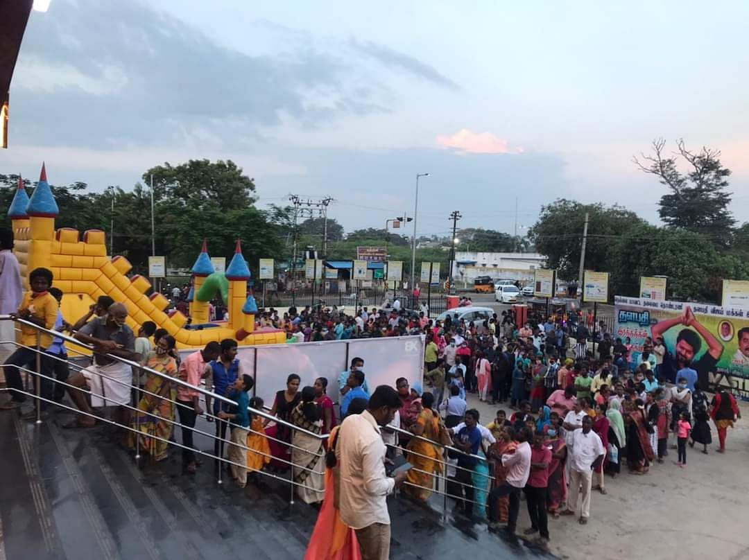 Crowd outside movie theatre lining up to watch Vijay starrer 'Master'