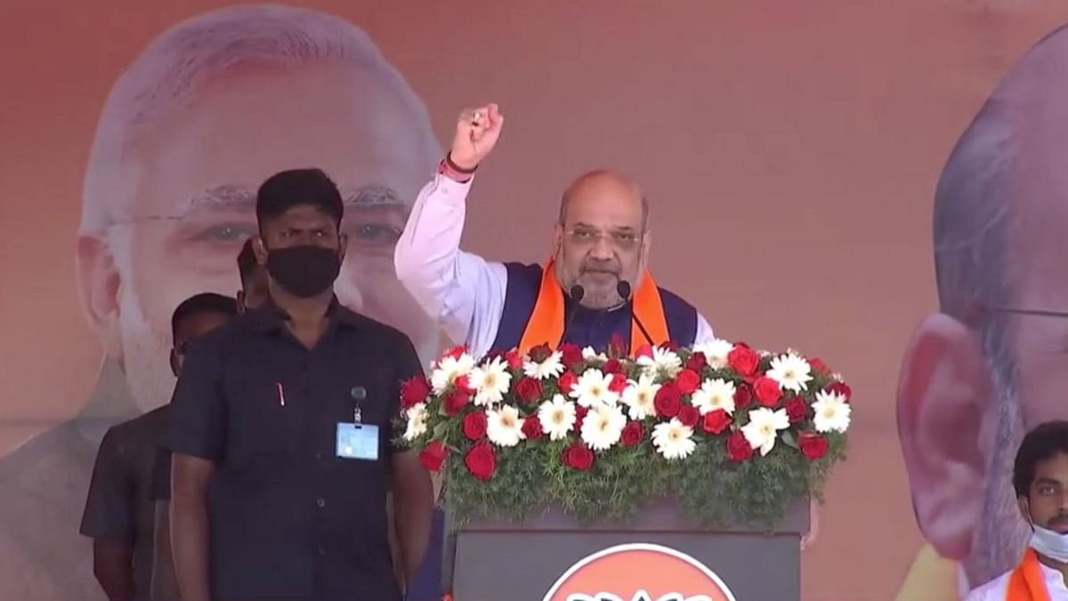 Union Minister Amit Shah in Puducherry on Sunday, 28 February.
