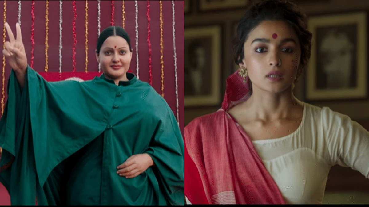 Kangana Ranaut as Jayalalithaa in <i>Thalaivi </i>(left) and Alia Bhatt in and as <i>Gangubai Kathiawadi.</i>