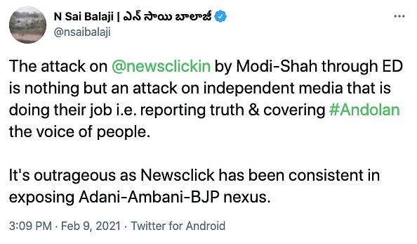 N Sai Balaji's tweet