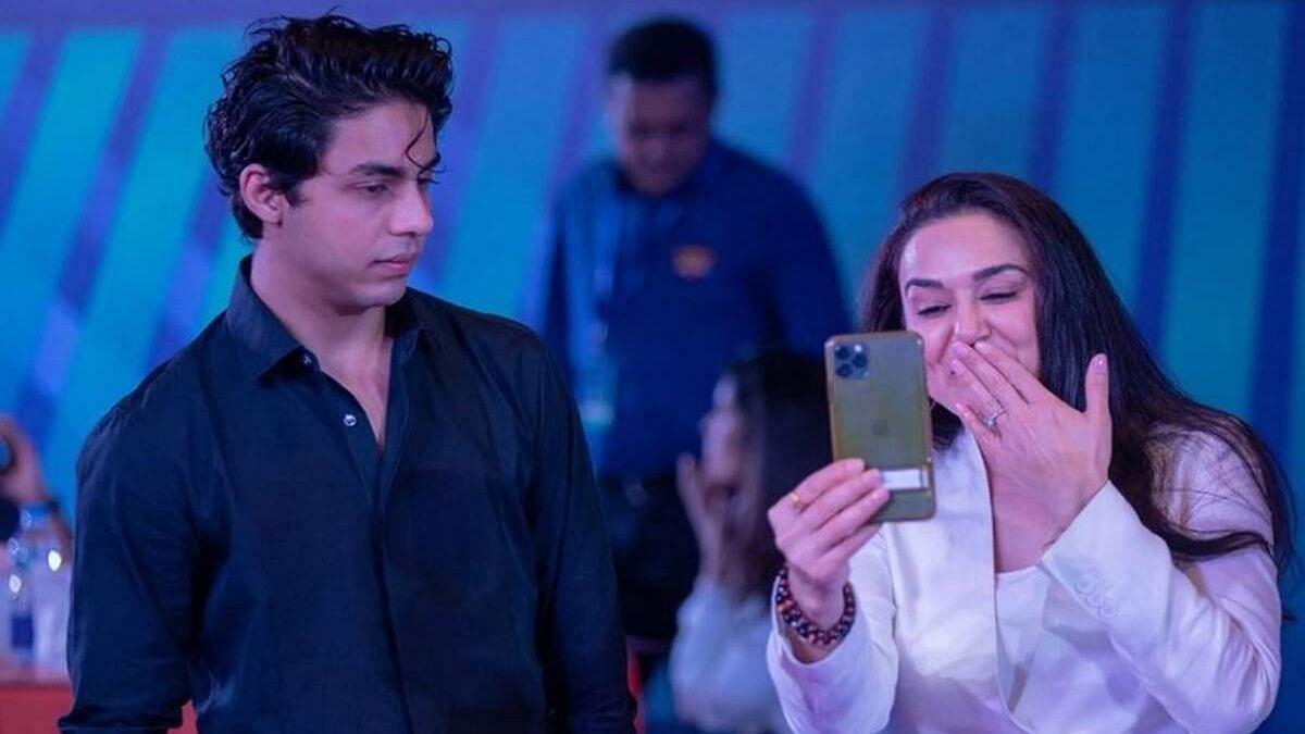 <p>Preity Zinta &amp; Aryan Khan at the IPL auction this year.</p>