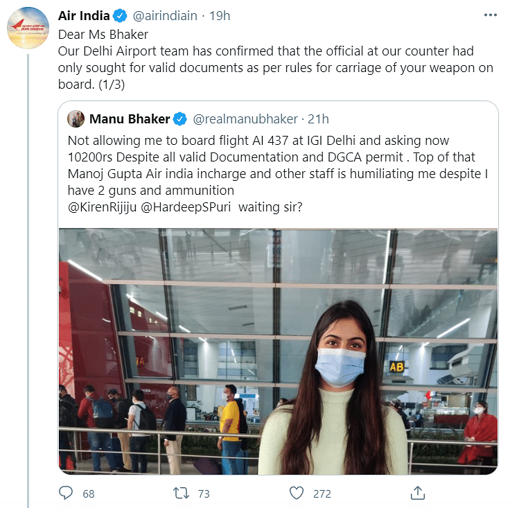 Air India's Tweet