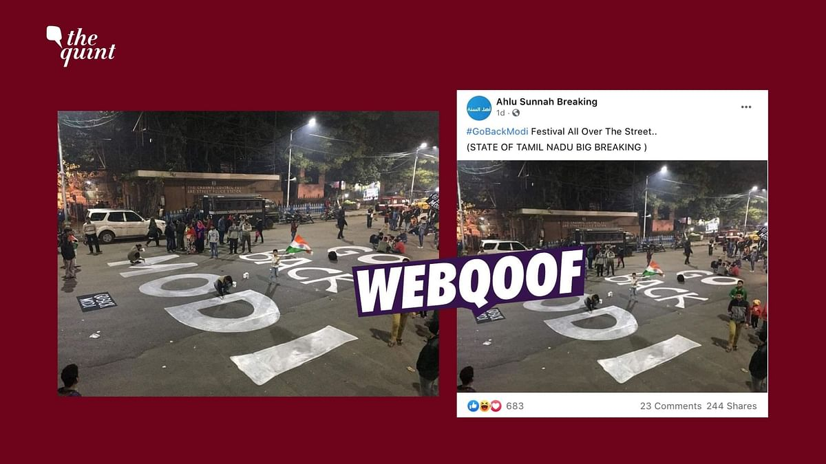 The image dates back to January 2020 when PM Modi had visited the state of West Bengal and anti-CAA protests erupted in Kolkata's Esplanade area.