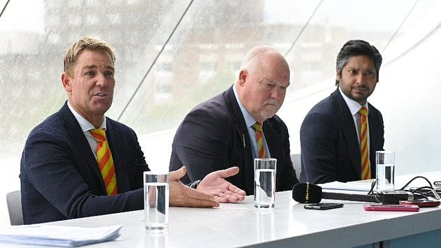 Shane Warne, Mike Gatting and Kumar Sangakkara during an MCC Meeting