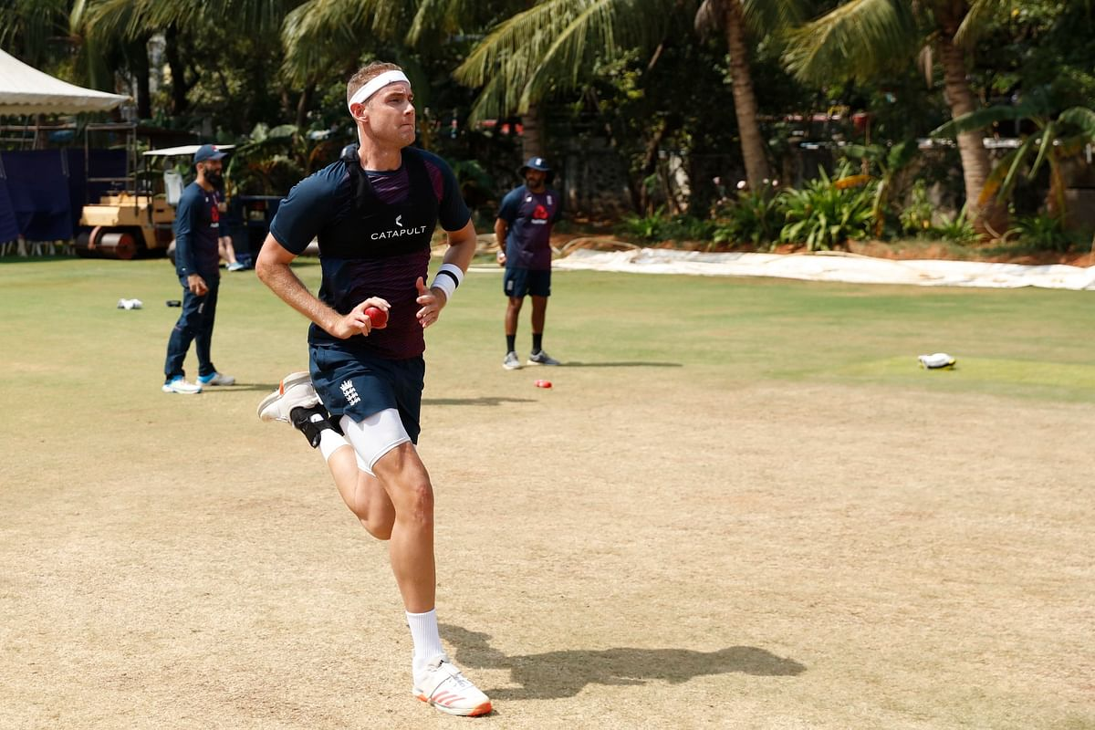 Stuart Broad during a training session in Chennai