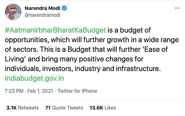 PM Modi's tweet.