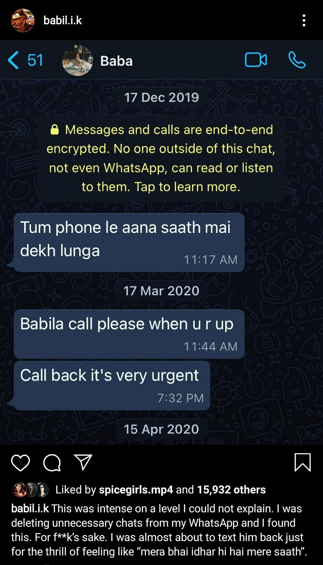 Babil shared a screenshot of old messages from his father Late Irrfan Khan