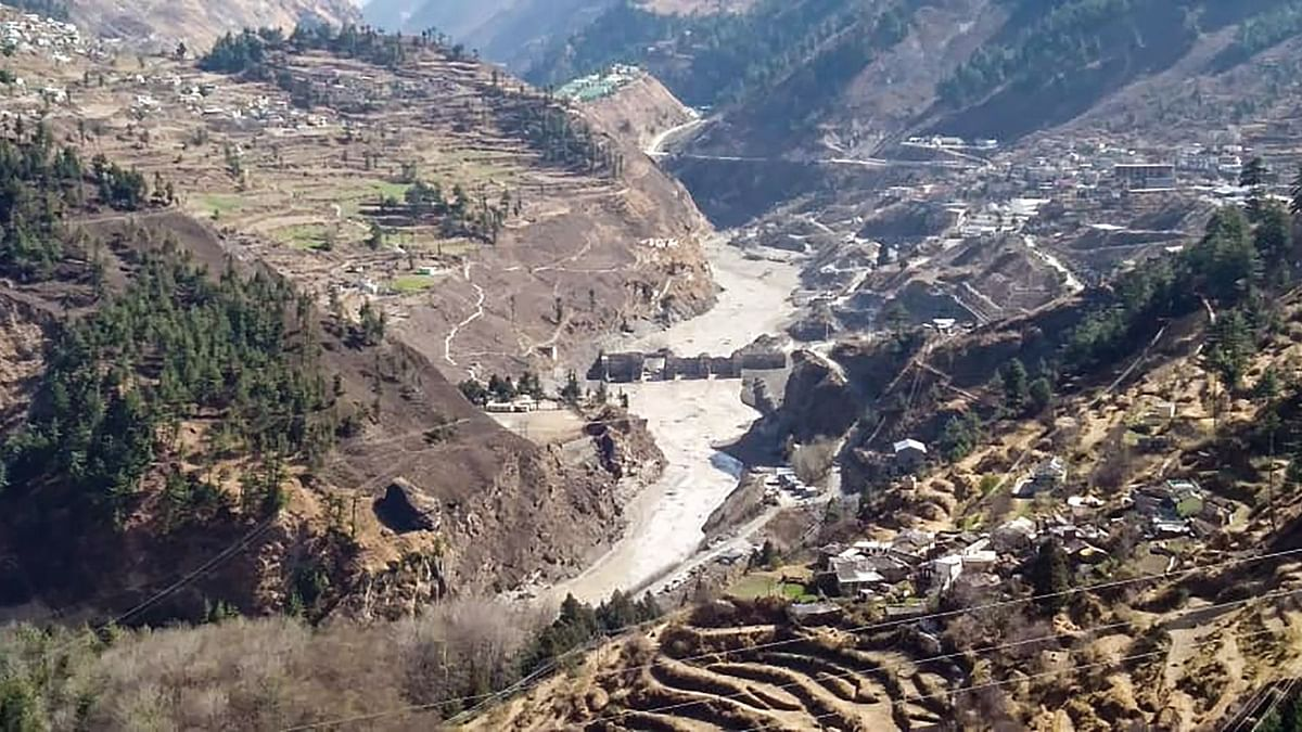 The damaged dam of the Rishi Ganga Power Project after a glacier broke off in Joshimath in Uttarakhand's Chamoli district caused a massive flood in the Dhauli Ganga river, on Sunday, 7 February 2021.