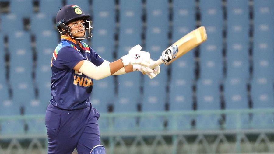 Shafali Verma during her knock against South Africa in Lucknow.