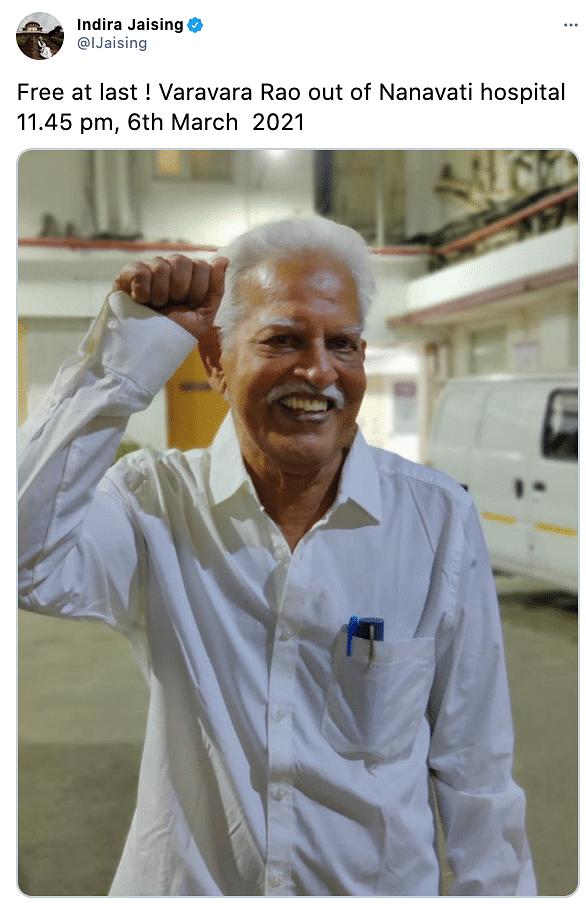 Poet-activist Varavara Rao has been released on medical bail.