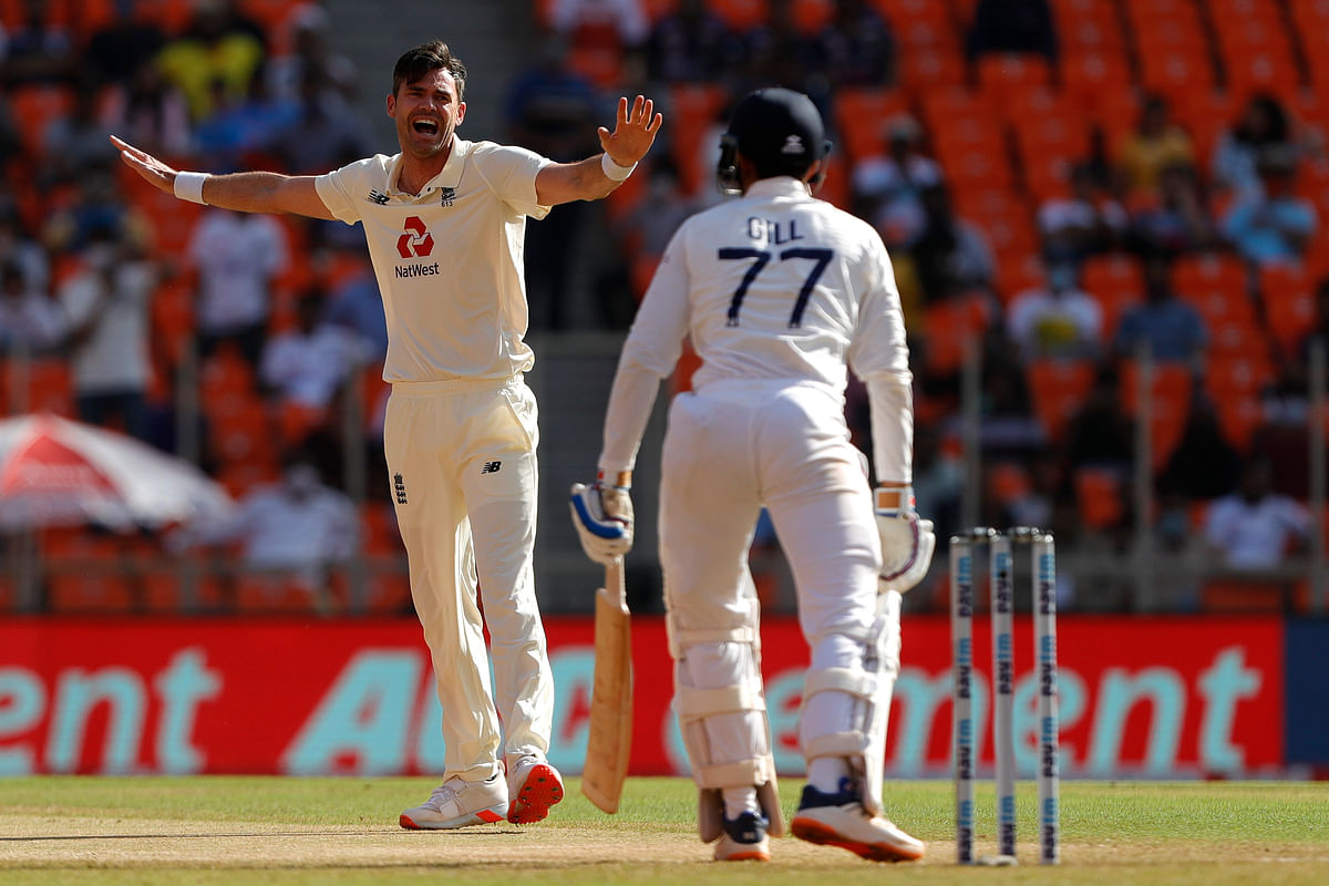 James Anderson of England successfully appeals for the wicket of Shubman Gill on Day 1 of the 4th Test at the Narendra Modi Stadium, Ahmedabad.