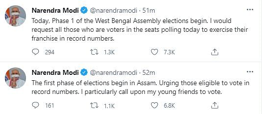 'Vote in Record Numbers': PM's Msg as Elections Begin in Assam, WB