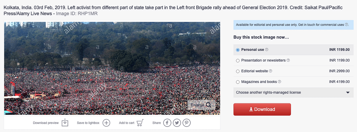 Image From 2019 Viral as 'Massive Crowds at Cong-Left Rally in WB'