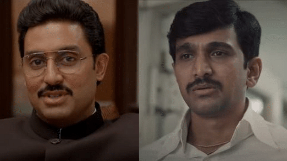 """<div class=""""paragraphs""""><p>Abhishek Bachchan and Pratik Gandhi as characters allegedly inspired by Harshad Mehta </p></div>"""