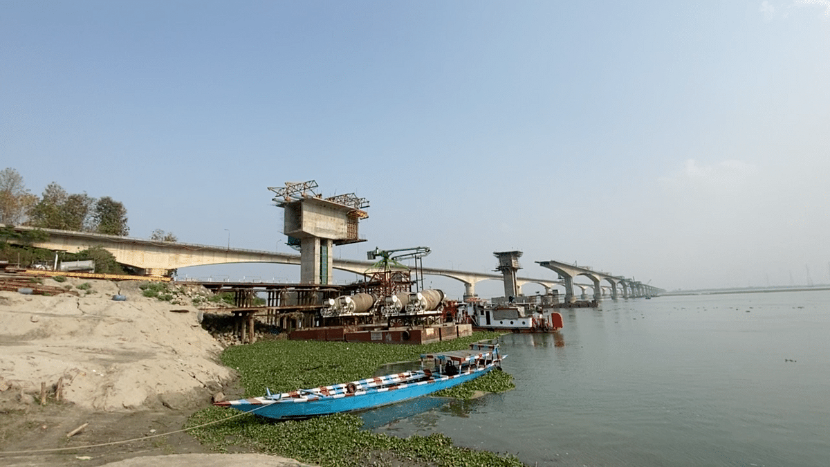 An under-construction bridge near Tezpur.