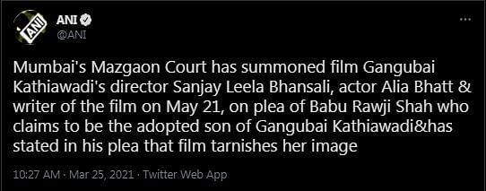 Mumbai Court Summons Bhansali, Alia in 'Gangubai' Defamation Case