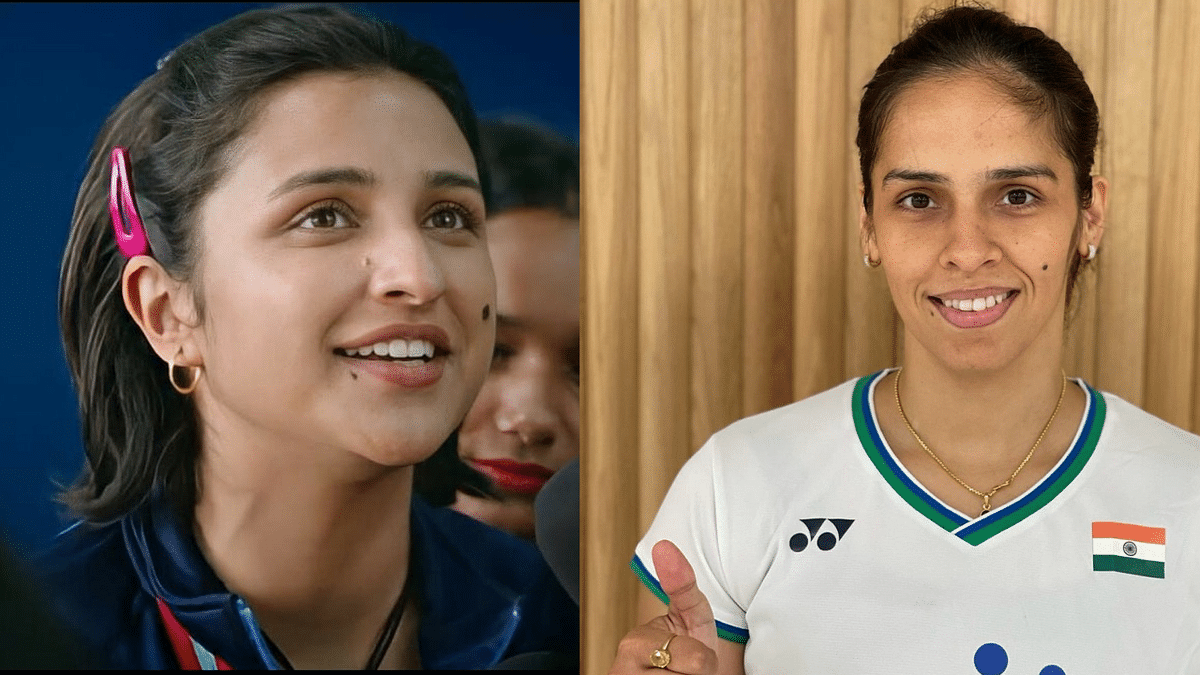 Parineeti Chopra's look in 'Saina' (left) and Saina Nehwal